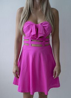 Day Light Bow Dress - Neon Pink