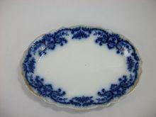 Flow Blue Serving Platter, Portman by Grindley Blue And White China, Blue China, Art Nouveau Pattern, Rustic White, Milk Paint, White Decor, Serving Platters, Flow, Decorative Plates