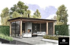 Houten tuinkamer met glazen pui in tuin