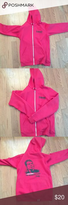 Womens red hoodie Worn travel channel Sweaters