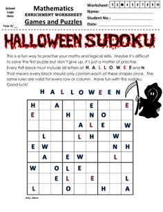 No math is needed to complete these Halloween Sudoku puzzles, just simple knowledge about the Halloween themed letters, shapes and patterns. Halloween Puzzles, Halloween Word Search, Halloween Activities, Halloween Themes, Halloween Worksheets, Halloween Party, Nightmare Before Christmas, Logic Puzzles, Word Puzzles