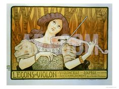 """Reproduction of a Poster Advertising """"Violin Lessons,"""" Rue Denfert-Rochereau, Paris, 1898 Giclee Print by Paul Berthon at Art.com"""