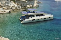 The world's first entirely solar-powered, zero emissions yacht is now nearing completion and should be available to purchase within the next 2 months Yacht Design, Catamaran Design, Boat Design, Power Catamaran, Ski Nautique, Sea Ray Boat, Buy A Boat, Yacht Boat, Motor Yacht