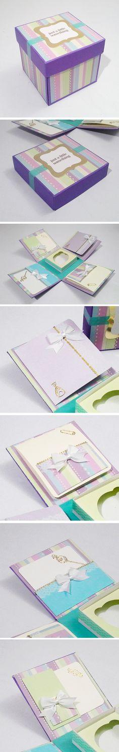 Caja para 1 cupcake para regalar en un bautizo o a una futura madre