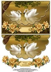 Swans And Roses Envelope Card With Decoupage
