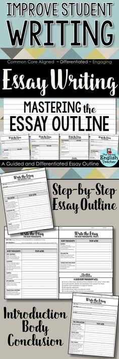 Guide students step-by-step through the essay writing process with this guided essay outline. This outline is ideal for high school English and middle school English students. Writing Guide, Writing Checklist, Writing Ideas, Essay Writing Tips, Writing Strategies, Article Writing, Essay Prompts, Writing Lessons, Writing Workshop