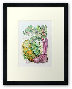 Red Beets and Squash illustration in watercolor and ink. Graphic Art Prints, Framed Art Prints, Wall Murals, Wall Art Decor, Colorful Kitchen Decor, Red Beets, Summer Painting, Nana Gifts, Rustic Gifts
