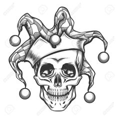 Buy The Skull in Joker Cap by on GraphicRiver. Hand drawn jester skull in fools cap. Vector illustration in engraving tattoo style. Editable AI EPS 10 and high . Cool Skull Drawings, Skull Artwork, Dark Art Drawings, Jester Tattoo, Clown Tattoo, Joker Tattoos, Tatto Skull, Skull Tattoo Design, Geisha Tattoos
