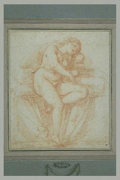 école de  ALLEGRI Antonio Ecole lombarde Femme nue, assise, endormie, vue de face
