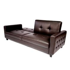 Tufted Faux Leather Sofa Bed, Brown - Bachelor On A Budget Futon Couch, Sleeper Sofa, Couches, Sofas, Sofa Bed Brown, Faux Leather Sofa, Cheap Couch, Living Room Seating, Bachelor Pads