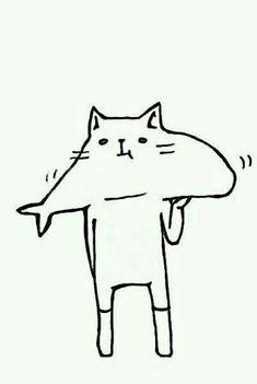 Imagen de cat, art, and fish Arte Indie, Cat Drawing, Cute Illustration, Crazy Cats, Cat Art, Character Design, Artsy, Sketches, Neko