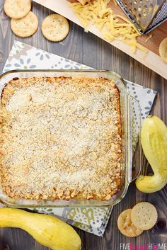 Southern Squash Casserole ~ this cheesy, comforting side dish recipe is loaded with tender sauteed yellow squash, cheddar, Parmesan, and sour cream, then topped with buttery cracker crumbs and baked!   FiveHeartHome.com