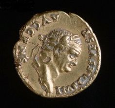 Gold Coin with Profile Portrait of Roman Emperor Vespasian, just before 100 A.D.