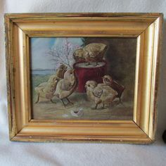 Charming Antique Oil painting of Baby Chicks in Gilded Picture Frame