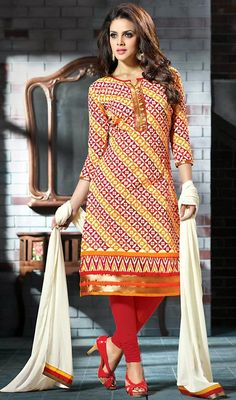 Spruce up your style in this cream and orange chanderi silk printed churidar suit. The block print and lace work seems chic and great for any get together. #LovelyCasualCottonDresses