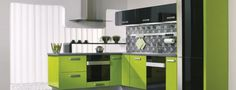 Awesome Minimalist Green Kitchen Home Interior Design Ideas - Interior Design Lime Green Kitchen, Green Kitchen Designs, Green Kitchen Cabinets, Kitchen Cabinet Colors, Modern Kitchen Design, Kitchen Colors, Interior Design Kitchen, Home Design, Kitchen Paint