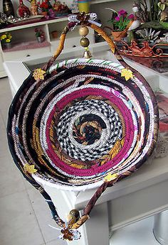 HANDMADE COTTON FABRIC COILED BASKET MULTI COLOR ROPE QUILTED SERVING PLATE GIFT