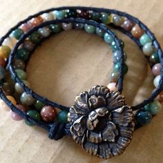 Wrap bracelet with Indian agate beads