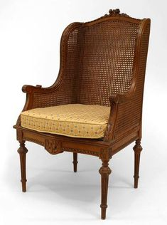 This Louis XVI style chair is brilliant. Wing chair in cane, which completely defeats the point of the wing chair and makes it kind of sarcastic. Georgian Furniture, French Furniture, Wooden Furniture, Antique Dining Chairs, Dinning Chairs, Chair Design, Furniture Design, Indian Bedroom, Victorian Chair