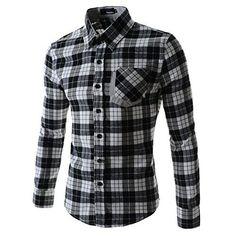 Doublju Mens Dress Shirt with Contrast Neck Band GRAY (US-M)