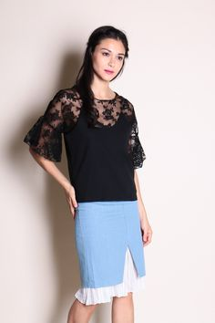 dcaf7857f8a75d Two Piece Bell Sleeve Lace and Strappy Top (Black) SGD  30.00