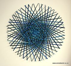 Emanation #8  - 47cm diameter  -  $200; Handwoven dyed harakeke (NZ flax - phormium tenax);  © 2014 Anne Daniel
