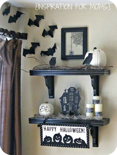 Halloween Black and White Shelves