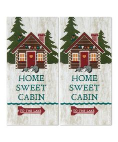 'Home Sweet Cabin' Tea Towel - Set of Two by Kay Dee Designs #zulily #zulilyfinds