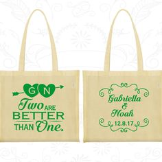Two are Better Than One, Wedding Cotton Tote Bags, Vintage Wedding Bags, Romantic Wedding, Love Wedding, Wedding Bag Favors (388)
