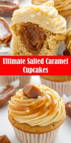 Your family's favorite food and drink ! Ultimate Salted Caramel Cupcakes For salted caramel lovers only. brown sugar cupcakes are stuffed with caramel cream and topped with salted caramel frosting. Cupcake Recipes, Cookie Recipes, Cupcake Cakes, Dessert Recipes, Ultimate Cupcake Recipe, Cupcakes Amor, Best Cupcakes, Salted Caramel Frosting, Caramel Buttercream Frosting