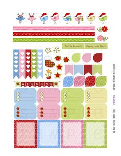 Vertical Planner Stickers  Pink/Blue/Green/Red by partyINK on Etsy  #erincondren