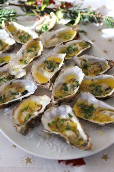 Huîtres chaudes au beurre d'orange Entree Festive, Potato Salad, Zucchini, Sushi, Potatoes, Vegetables, Cooking, Ethnic Recipes, Food