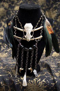 Mink Skull Bone Quartz Crystal Necklace by VioletSerpentine, $65.00