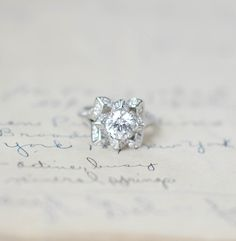 Lotus Engagement Ring - Flower Wedding Ring - Rose Ring - Sterling Silver Ring - Cubic Zirconia Ring - Art Deco Ring - Promise Ring by MochaRings on Etsy