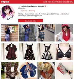 Fashion blogger / Instagram model La Carmina is having a huge closet sale on Depop! Shop her unique Gothic, Lolita, alternative, steampunk wardrobe listed at low prices. Many items are rare and from Japan. Here's the info on how to shop her fashion blog items! http://www.lacarmina.com/blog/2016/05/depop-fashion-bloggers-wardrobe-sale-clothes/  She's lacarmina on Depop - https://www.depop.com/en/lacarmina  depop screenshop, using app, explore items
