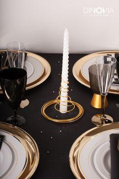 decoration de noel noir et or sur le theme de gasby le magnifique une table