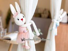 Amigurumi Curtain Holder Rabbit - Handmade That Beautiful Rabbit, Curtain Holder, Ballerina Doll, Tutu, Crochet Curtains, Nursery Modern, Amigurumi Toys, Crochet Animals, Single Crochet