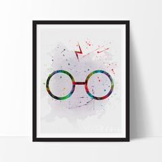 Harry Potter Glasses Watercolor Art. This art illustration is a composition of digital watercolor images and silhouettes in a minimalist style.