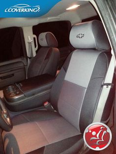 Chevy Silverado Neosupreme Custom Fit Seat Covers from Coverking with Bowtie Logo