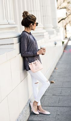 white distressed jeans & oversize gray tee