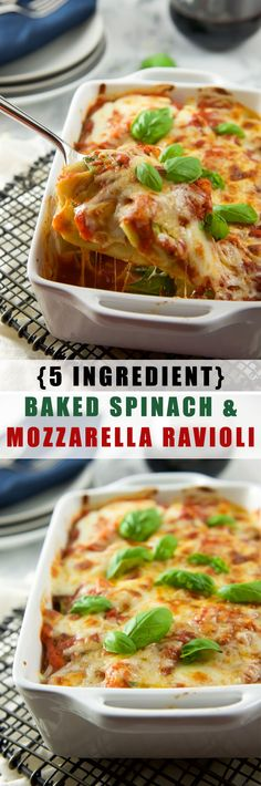 {5 Ingredient} Baked Spinach and Mozzarella Ravioli Florentine is a cheesy, quick and delicious dinner that is better than carry out! 12 Tomatoes Recipes, Pasta Recipes, Dinner Recipes, Cooking Recipes, Crockpot Recipes, Cooking Joy, Dinner Ideas, Spinach Recipes, Meal Recipes