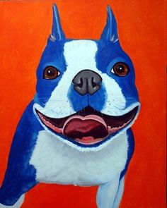 8x10 Fine Art Print Blue Boston Terrier Fine Art by carolscanvas $18.00