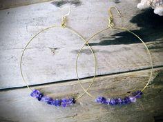 Purple Amethyst Large Brass Hoop Earrings hoops by KittyLovesLou