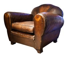 "1930's French Leather Club Chair ""Havana Trilobe"" Model"