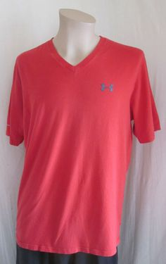 UNDER ARMOUR Loose Heatgear Charged Men's Red Gray V-Neck T-Shirt XL XLarge #UnderArmour #BaseLayers