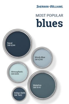 From light to dark and everything in between, Sherwin-Williams customers love blue paint colors. But have you ever wondered which shades of blue are the very best sellers? In Naval SW Windy Blue SW Atmospheric SW Waterloo SW 9141 an Exterior Paint Colors, Paint Colors For Home, Paint Colors For Office, Furniture Paint Colors, Beach Paint Colors, Farmhouse Paint Colors, Kitchen Paint Colors, Paint Colors For Walls, Blue Paint For Bedroom