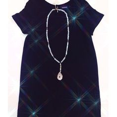the perfect black tee dress • dress: MINKPINK - Predict the Day T-shirt Dress $58 // necklace Knot + Bow Designs $110 #throwonandgo #minkpink #knotandbowdesigns #kkbloomstyle