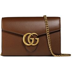 Gucci Interlocking GG Marmont Leather Wallet-on-Chain (1,646,645 KRW) ❤ liked on Polyvore featuring bags, wallets, bolsas, purses, gucci, malas, brown, snap wallet, leather credit card holder wallet and real leather wallet