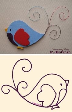 Wire Crafts, Diy And Crafts, Crafts For Kids, Paper Crafts, Bird Applique, Wool Applique, Flower Pattern Drawing, Bird Template, 1st Birthday Cake Topper