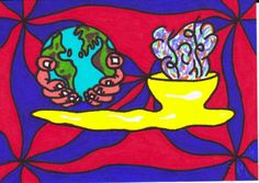 "ACEO TW NOV Original ""Peace Pipe"" Native Symbol Collectible Artist Card ATC"
